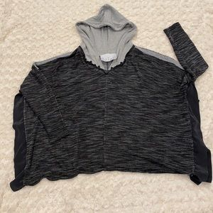Dolan Hooded Split Side Poncho in Black Gray